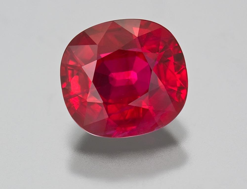 2.58 ct cushion cut ruby from Burma.