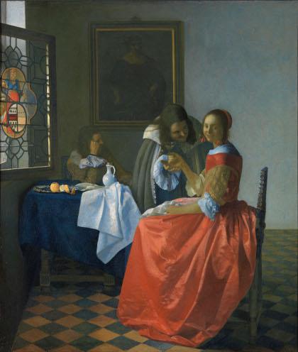 GG 316 Jan Vermeer van Delft Das Mädchen mit dem Weinglas Leinwand 78 X 67 cm
